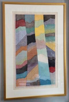 "Ansei Uchima Woodblock Print on Japanese Paper, Forest Byobu ""Fragrance"""