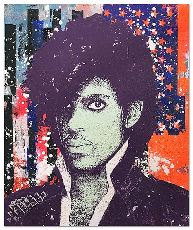 "Greg Gossel ""Prince 1"" Pop Art Musician Music Collage Purple Black Blue Red Whit"