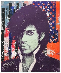 "Greg Gossel ""Prince 1"" Pop Art Musician Music Collage Purple Black Blue Red Whit"