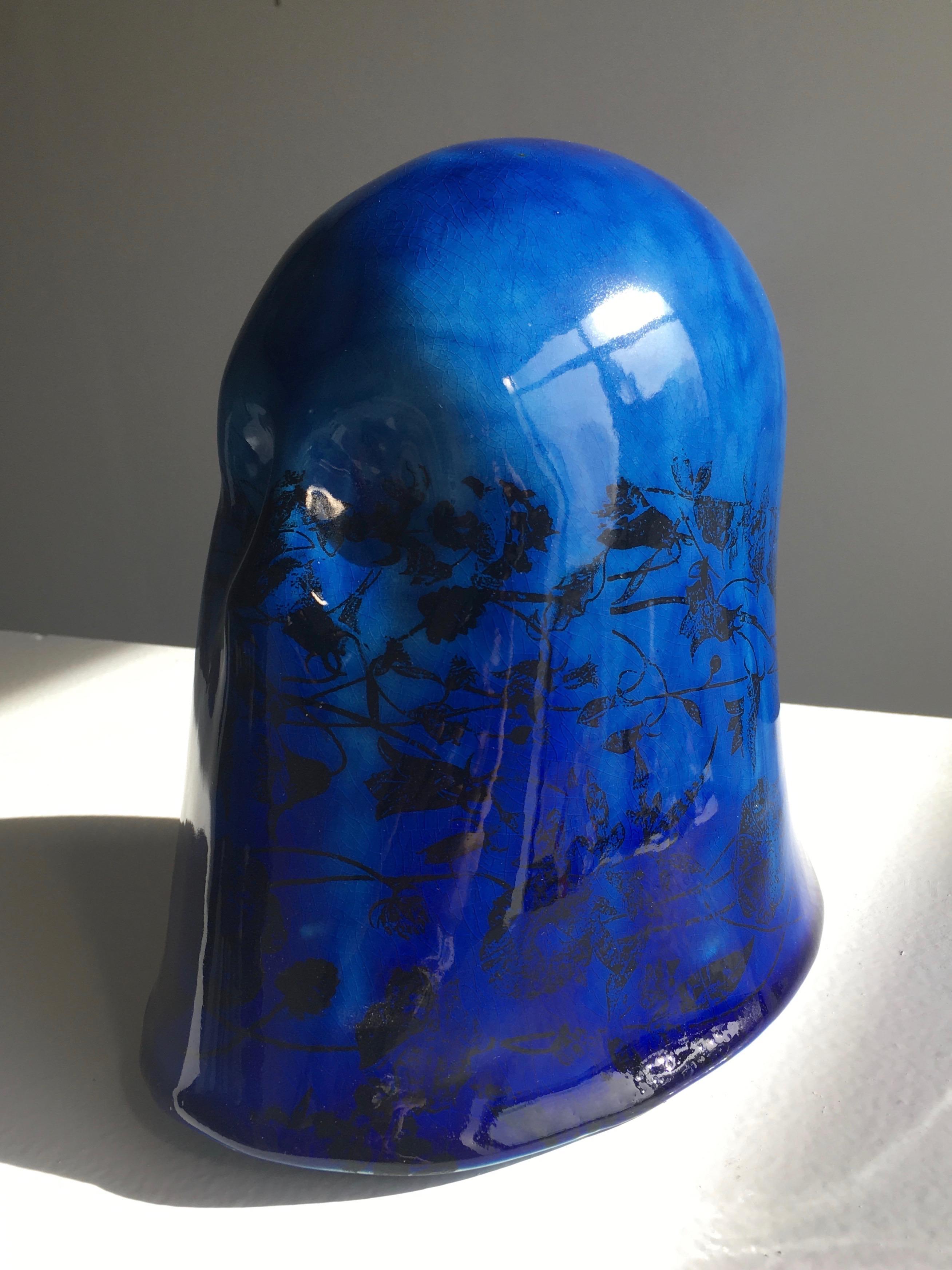 """Cobalt Veil"", Chloe Rizzo Ceramic Porcelain Glaze Cobalt Blue Black Female"