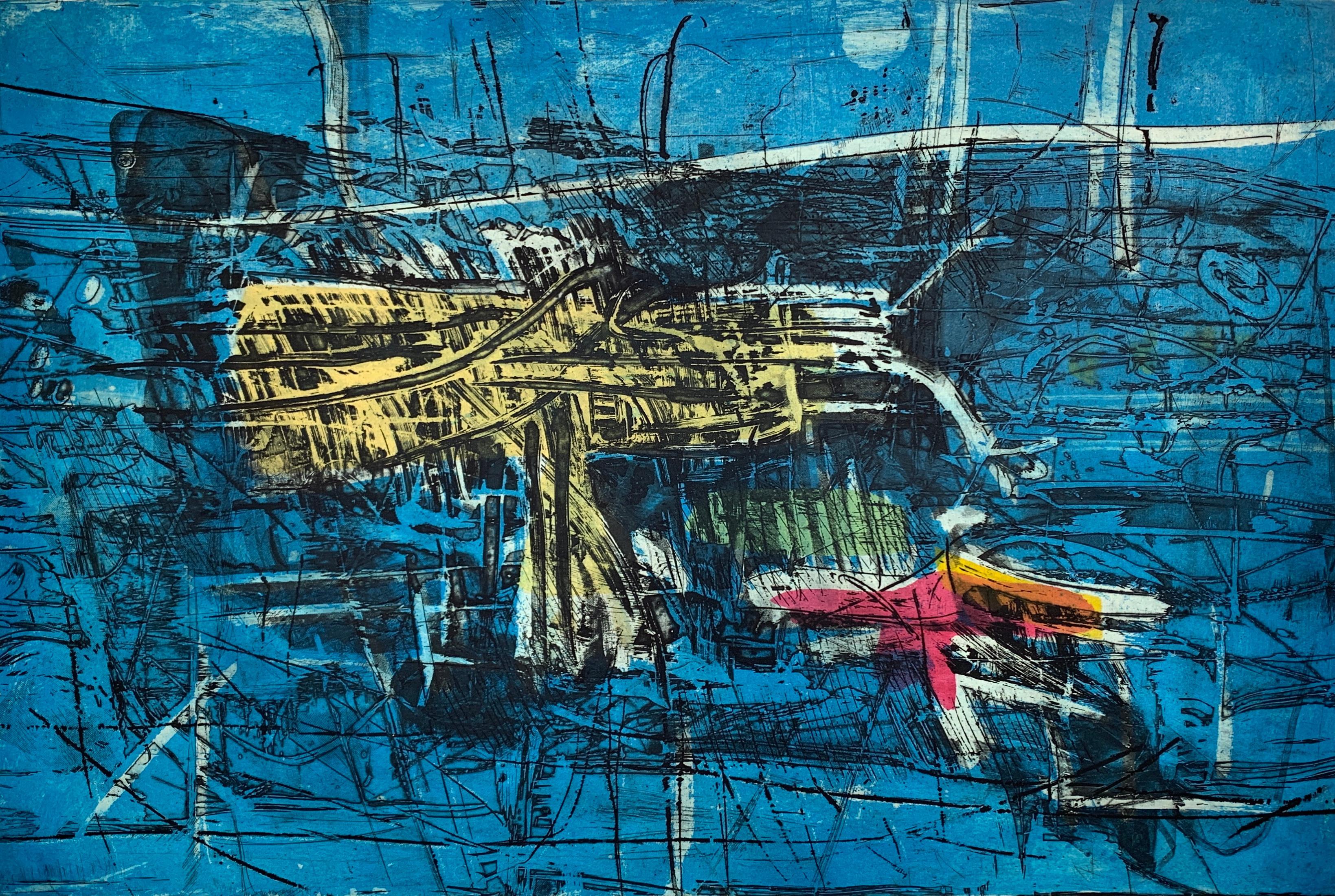 Miles Mood, by Malcolm Myers Intaglio Miles Davis Jazz Blue Mid-Century Modern