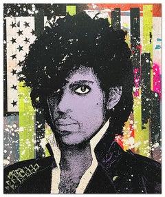 "Greg Gossel ""Prince 2"" Pop Art Musician Music Collage Purple Black Yellow White"