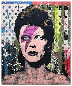 "Greg Gossel ""David Bowie 1"" Pop Art Musician Music Collage Black Blue Pink White"