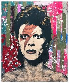 "Greg Gossel ""David Bowie 2"" Pop Art Musician Music Collage Black Tan Green Pink"