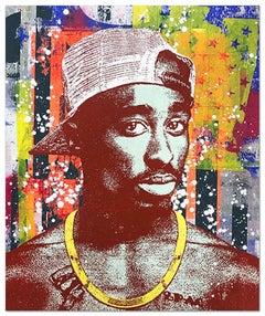 "Greg Gossel ""Tupac Shakur 2"" Pop Art Musician Music Collage Maroon Yellow Orange"