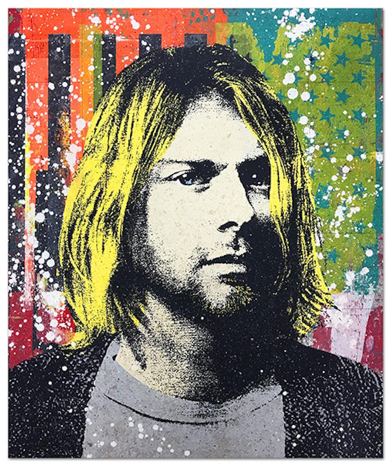 "Greg Gossel ""Kurt Cobain 1"" Pop Art Musician Music Collage Black Yellow Orange"