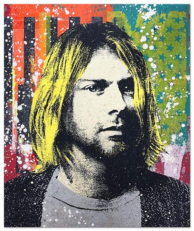 "Greg Gossel ""Kurt Cobain 1"" Pop Art Musician Music Collage Black Yellow Orange - Mixed Media Art by Greg Gossel"