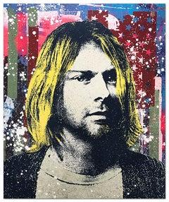 "Greg Gossel ""Kurt Cobain 2"" Pop Art Musician Music Collage Black Yellow Tan Red"