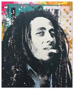 "Greg Gossel ""Bob Marley 2"" Pop Art Musician Music Collage Black Teal Orange Tan"