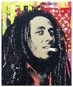 "Greg Gossel ""Bob Marley 1"" Pop Art Musician Music Collage Black Red Yellow Tan"