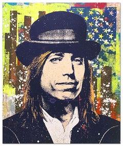 "Greg Gossel ""Tom Petty 2"" Pop Art Musician Music Collage Blue Yellow Brown Tan"