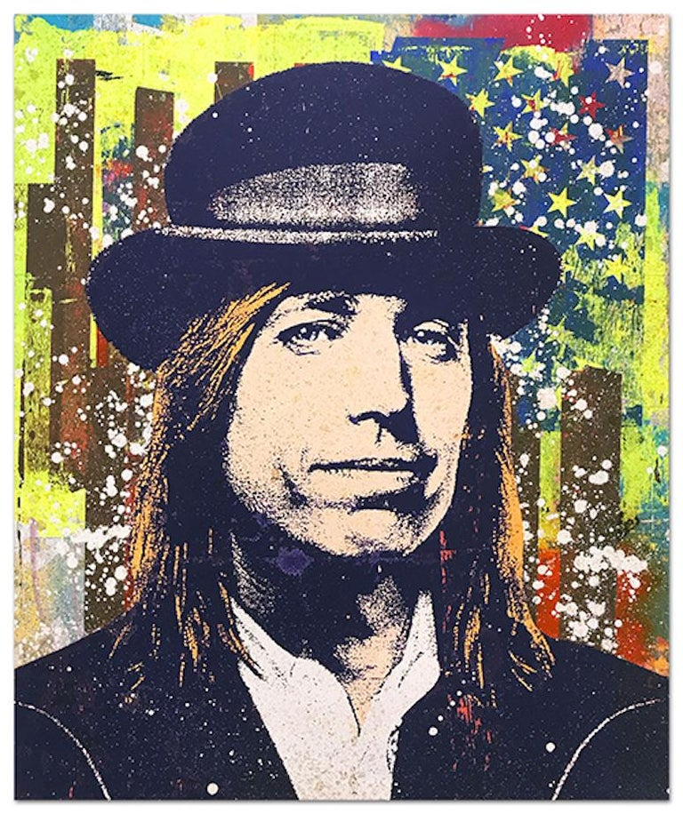 "Greg Gossel ""Tom Petty 2"" Pop Art Musician Music Collage Blue Yellow Brown Tan - Mixed Media Art by Greg Gossel"