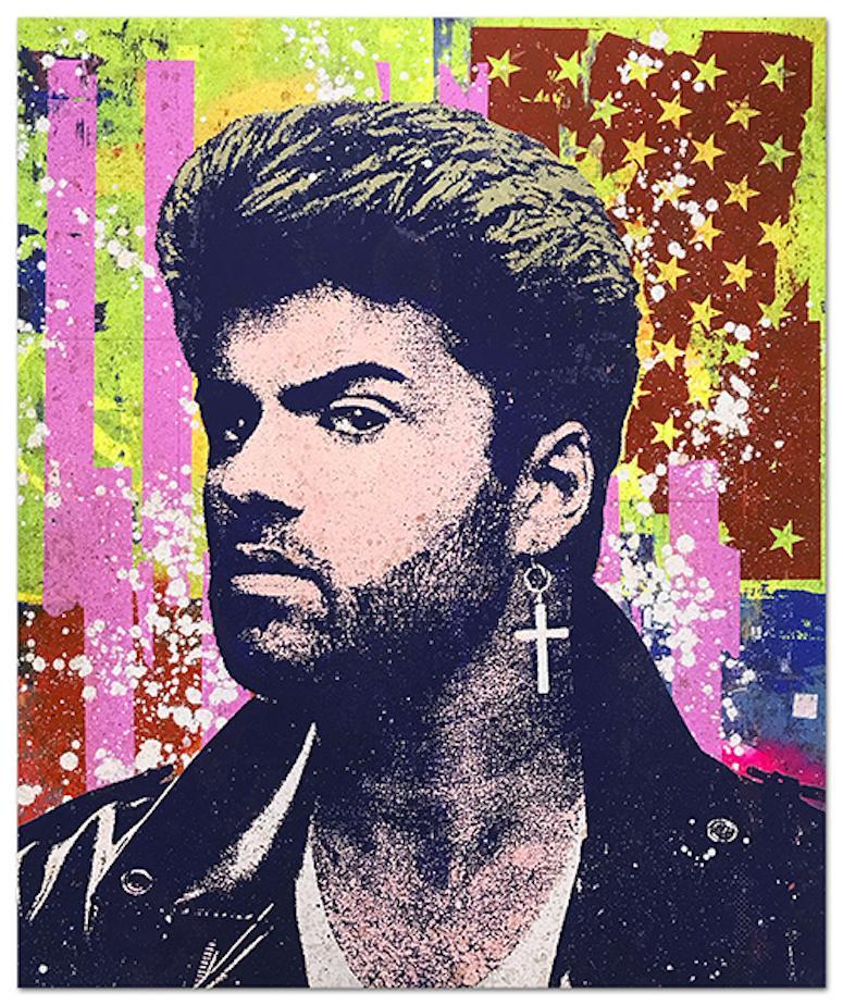 "Greg Gossel ""George Michael 2"" Pop Art Musician Music Collage Purple Yellow Pink"