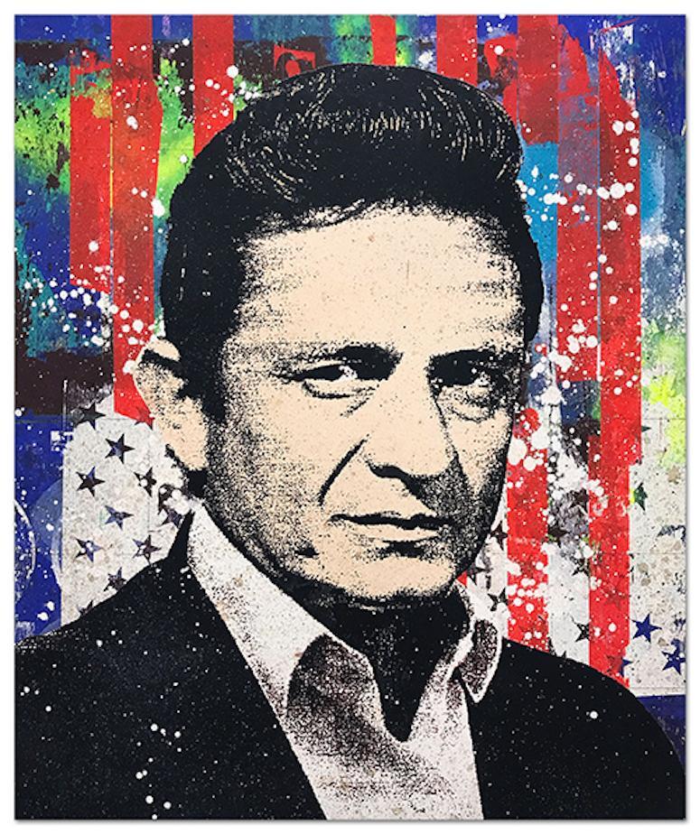 "Greg Gossel ""Johnny Cash 1"" Pop Art Musician Music Collage Red Blue"