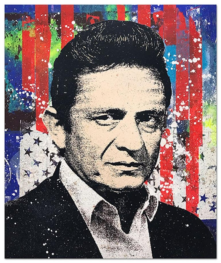 "Greg Gossel ""Johnny Cash 1"" Pop Art Musician Music Collage Red Blue - Mixed Media Art by Greg Gossel"