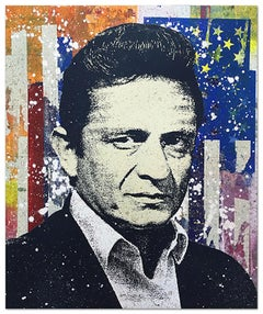 "Greg Gossel ""Johnny Cash 2"" Pop Art Musician Music Collage Orange Blue Black"