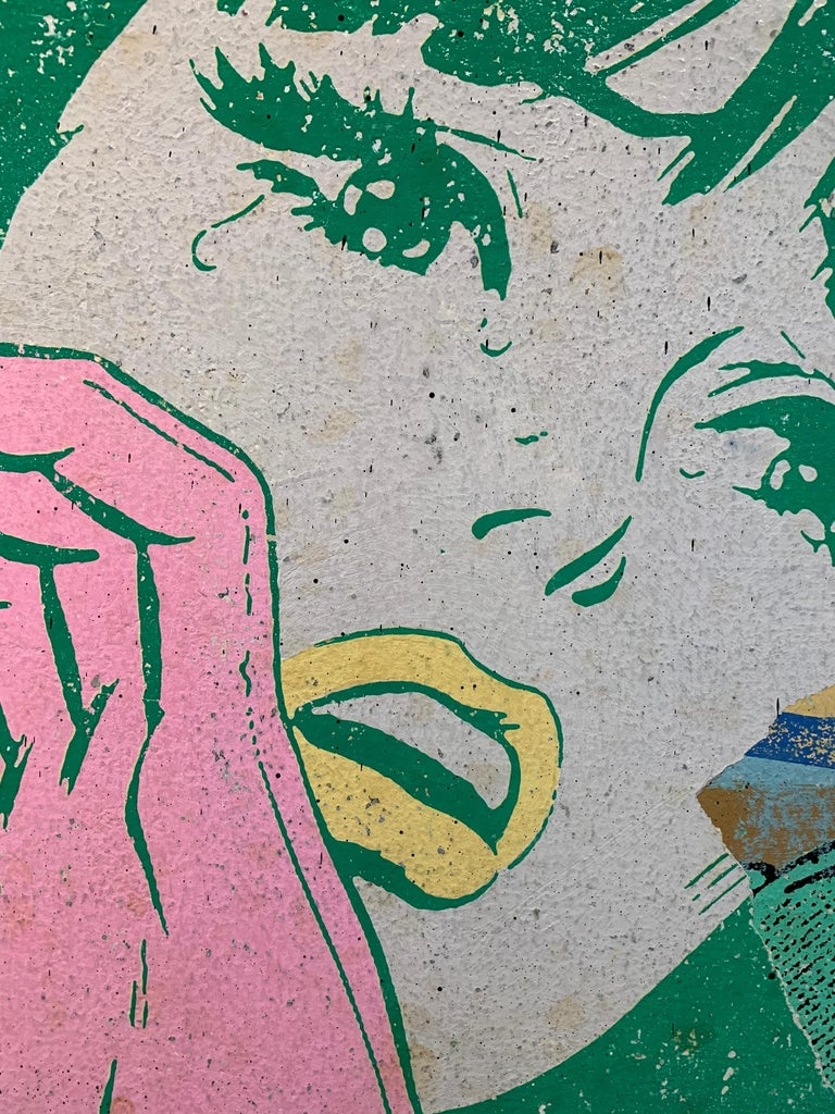Careful!, Greg Gossel Pop Art SuperHero Comics Collage, Iron Man Princess Diana - Beige Figurative Painting by Greg Gossel