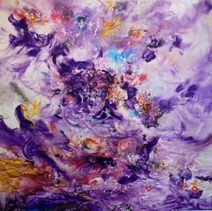 Symphonie Francais, Reginald Pollack Abstract Expressionist Oil Masonite Purple