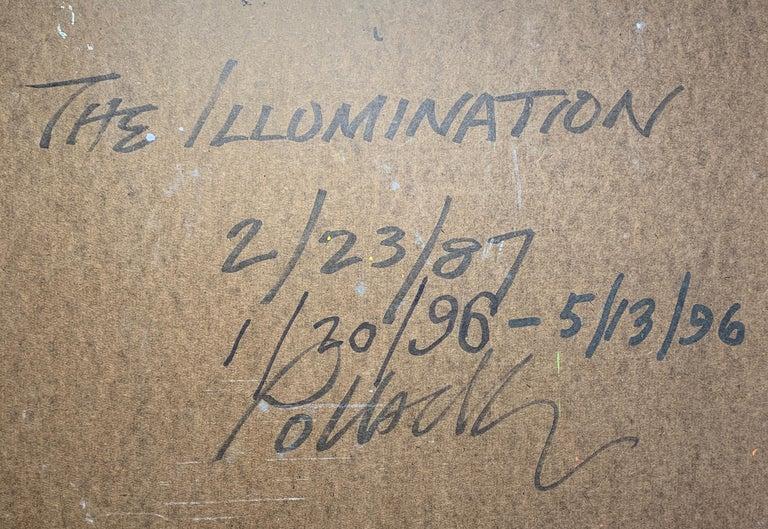 The Illumination, Reginald Pollack Abstract Oil on Masonite Blue Silver Orange For Sale 2