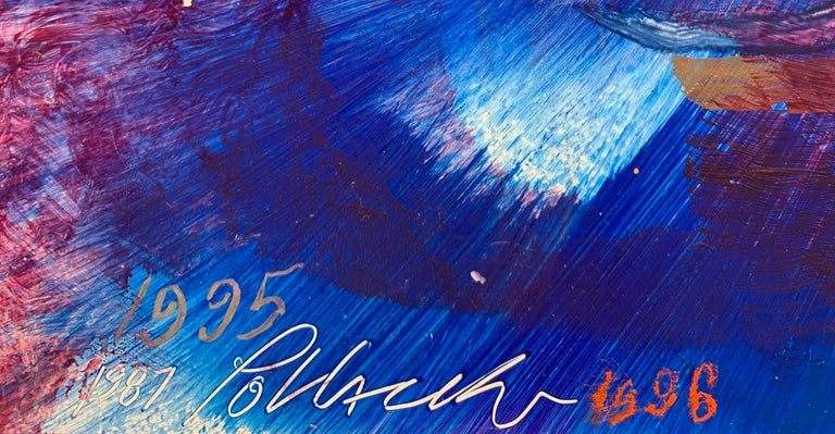 The Illumination, Reginald Pollack Abstract Oil on Masonite Blue Silver Orange For Sale 1