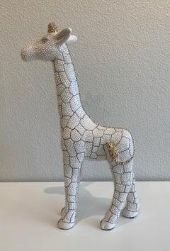 """Eddie Maniez """"Giraffe"""" Sculpture French Ceramic Silicone White Swarovski Crystal"""