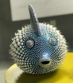 """Eddie Maniez """"Moonfish Large"""" Sculpture French Ceramic Silicone Blue Swarovski"""