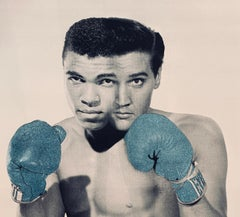 The Greatest Blue AP, by Julian Prolman Elvis Mohammed Ali Boxing Glitter 1960's