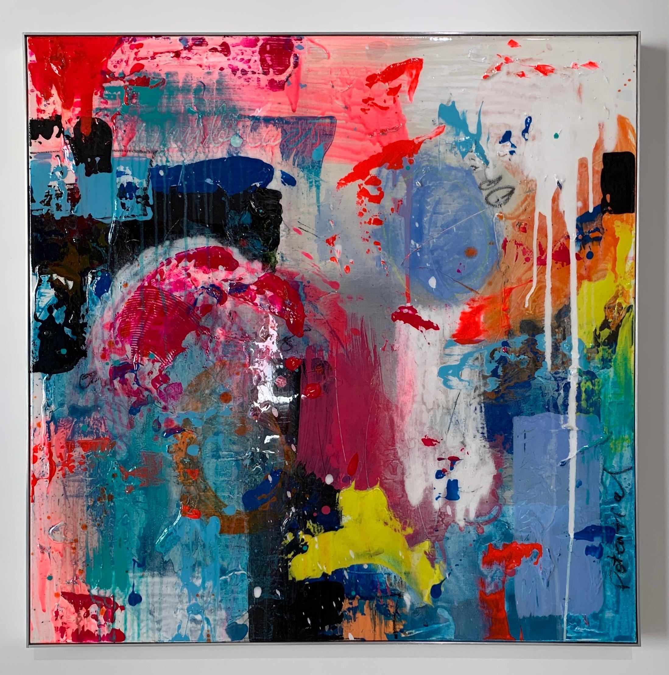 "Peri Gutierrez ""Wanderlust 1"" Mixed Media Canvas Abstract Expressionism Resin"
