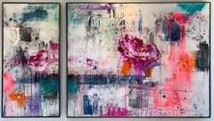 "Peri Gutierrez ""Contemplative"" Canvas Abstract Expressionist Diptych Resin Steel"