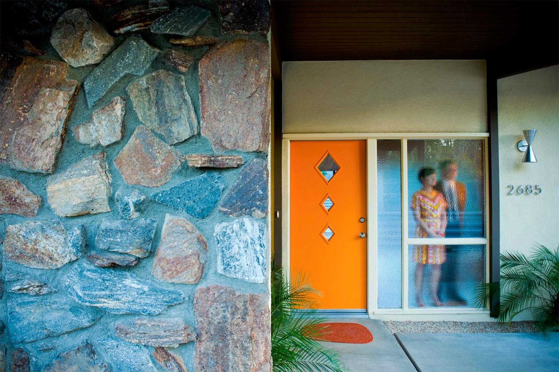 """Modernist Couple Behind Window"" James Schnepf Modernism Photograph Palm Springs"