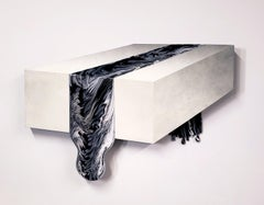 """Zack Smithey """"B&W Pour"""" Form and Flow Series Abstract Oil Enamel Board White"""