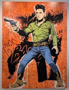 Elvis Orange, Greg Gossel Pop Art Comic Book Collage Cowboy Street Art Western