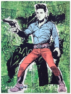 Elvis Green, Greg Gossel Pop Art Comic Book Collage Cowboy Street Art Western