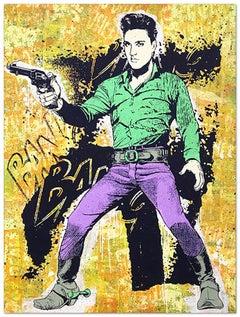 Elvis Yellow, Greg Gossel Pop Art Comic Book Collage Cowboy Street Art Western