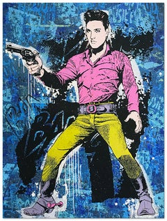 Elvis Blue, Greg Gossel Pop Art Comic Book Collage Cowboy Street Art Western