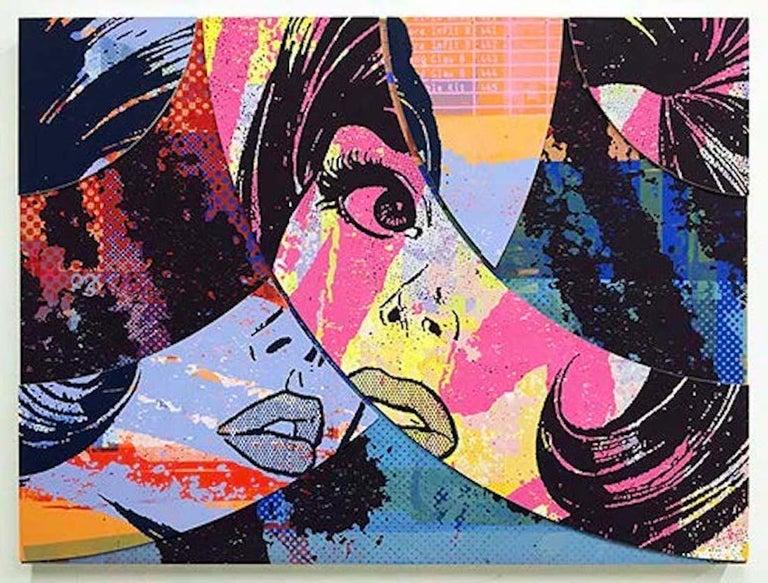 Hello & Goodbye #7, Greg Gossel Pop Art Comic Street Art Female 1950's - Mixed Media Art by Greg Gossel