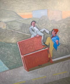 Battle for the Piano, James Burpee Oil on Canvas Framed Opera Greek Tragedy