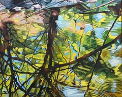 Seeds Drop, A Bug Swims, James Burpee Oil on Canvas Reflection Water Ripple