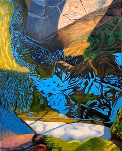 Creek Inlet #2 , James Burpee Oil on Canvas Reflection Willow Water Granite Moss