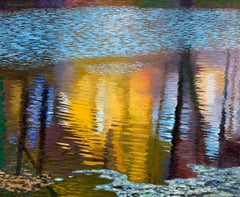 Creek Breeze, James Burpee Oil on Canvas Reflection Rippled Water River Stream