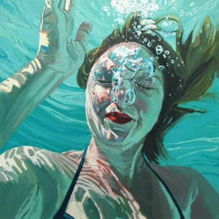 Release, Samantha French Oil on Canvas Swimming Pool Swimmer Water Female