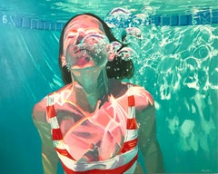 From The Sun, Samantha French Oil on Canvas Swimming Pool Swimmer Water Female