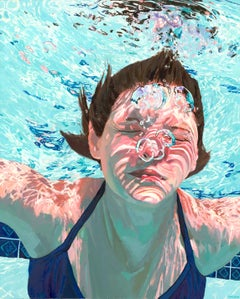 Clear Water, Samantha French Oil on Canvas Swimming Pool Swimmer Water Female