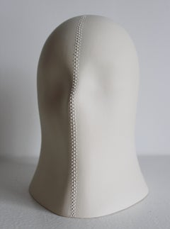 Fasten Veil, Chloe Rizzo Sculpture Porcelain Glaze White Female Bondage Zipper