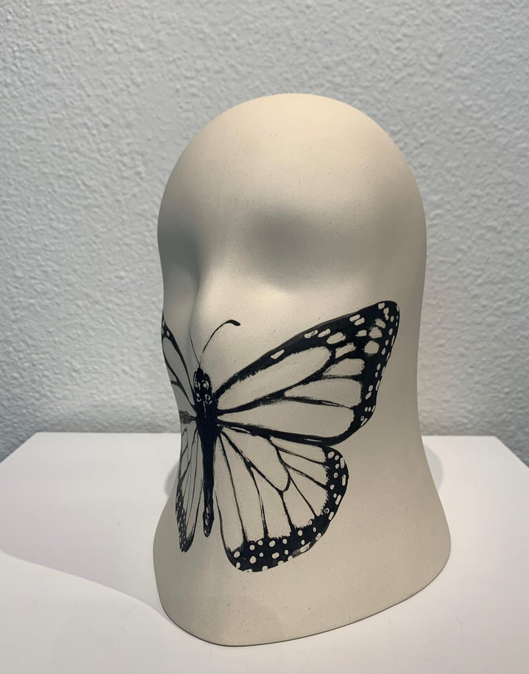 """""""Butterfly"""" Veil, Chloe Rizzo Sculpture Porcelain Glaze White Female Monarch  A ceramic/porcelain and glaze sculpture by artist Chloe Rizzo.  Her """"Veil Series"""" depicts a female head veiled by an overall shroud.  Each unique veil in the series is an"""