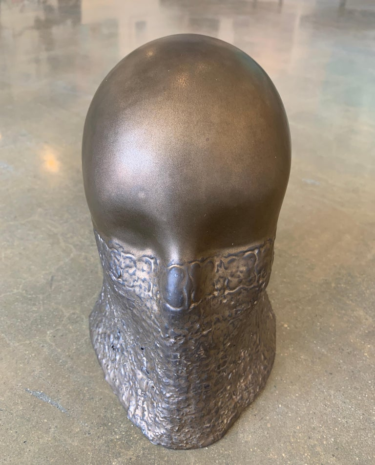 Bronze Fabric Veil, Chloe Rizzo Sculpture Porcelain Glaze Metallic Gold Female For Sale 5