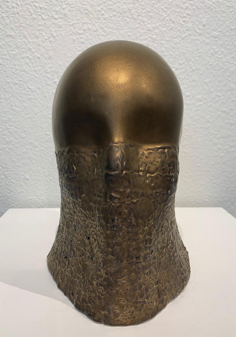 Bronze Fabric Veil, Chloe Rizzo Sculpture Porcelain Glaze Metallic Gold Female For Sale 1