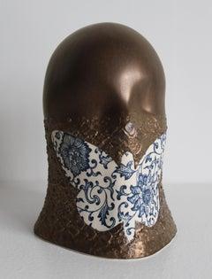 Gilded Butterfly Veil, Chloe Rizzo Sculpture Porcelain Delft Glaze Gold Female