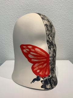 """""""Wild Red Wing"""" Veil, Chloe Rizzo Sculpture Porcelain Butterfly Red Female"""
