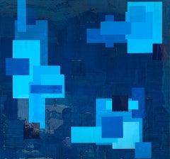 """Brilliant Blue Minimalism"" Peri Gutierrez Mixed Media Blue Abstract Resin"